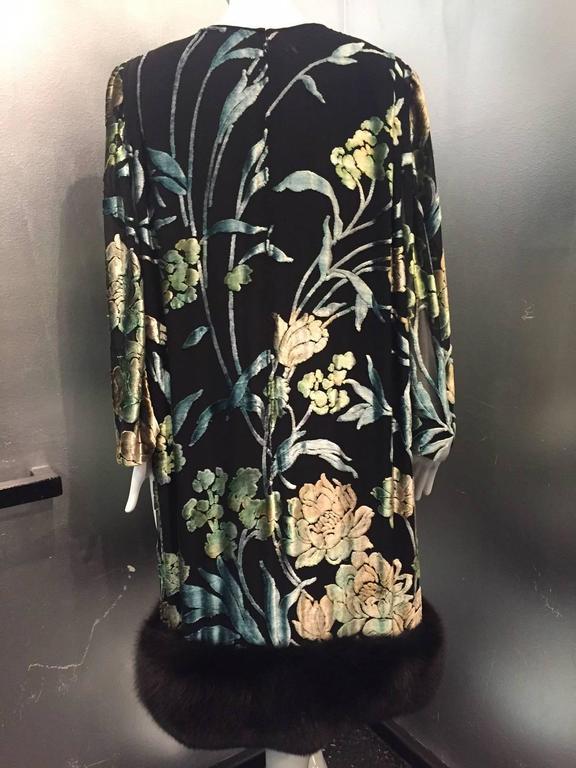 Pauline Trigere Silk Floral Devore Velvet Cocktail Dress w/ Black Fox Hem 4