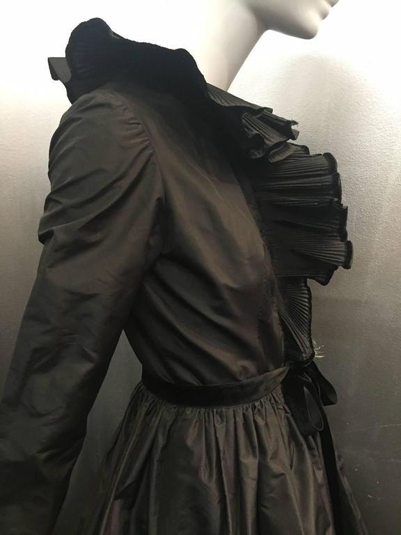 1970s Oscar de La Renta Black Taffeta Peasant-Inspired Evening Gown w/ Ruffles  5