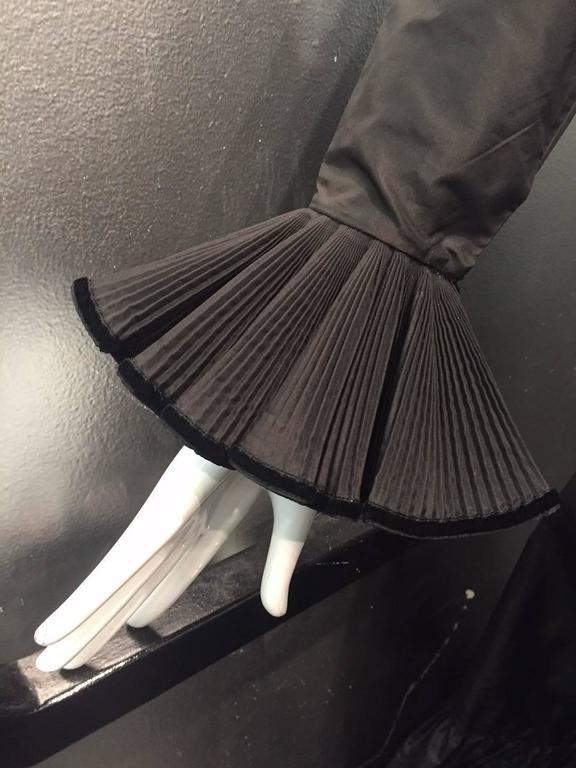 1970s Oscar de La Renta Black Taffeta Peasant-Inspired Evening Gown w/ Ruffles  7