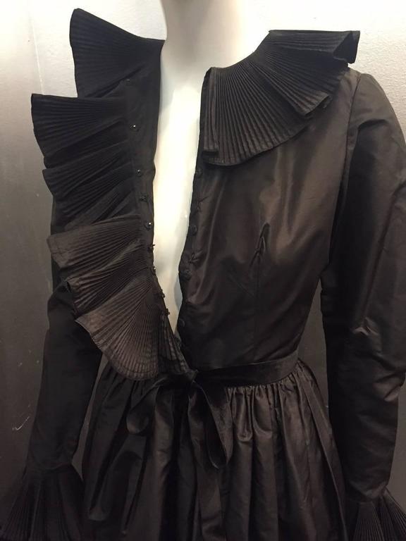 1970s Oscar de La Renta Black Taffeta Peasant-Inspired Evening Gown w/ Ruffles  9