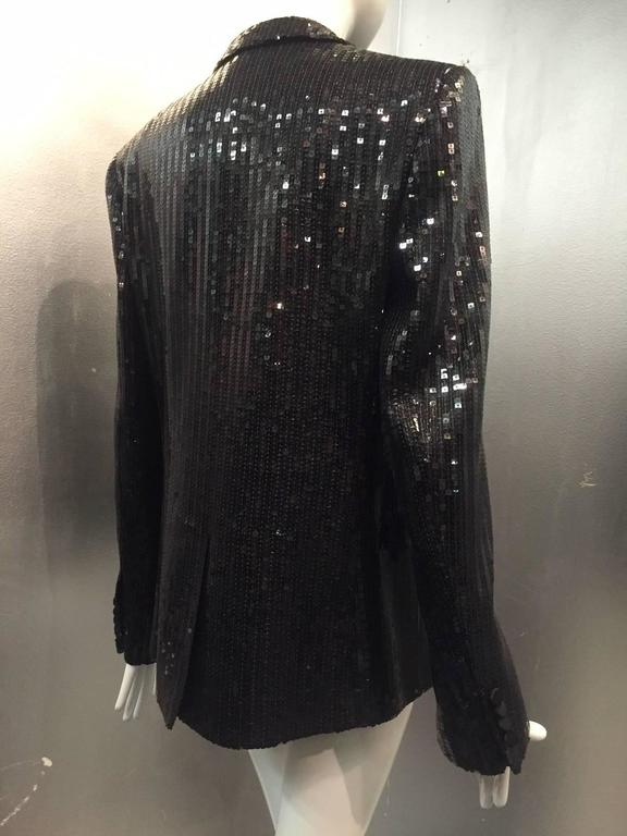 7686e39c336 Saint Laurent Black Sequin Tuxedo Jacket with Satin Lapels In New Condition  For Sale In San