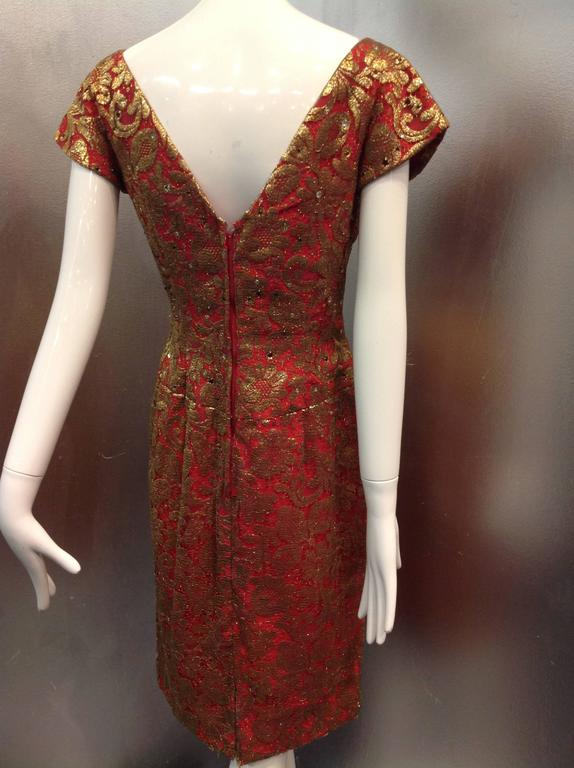 1950s Red Sheath Dress with Beautiful Gold Lame Lace Overlay and Crimson Stones In Excellent Condition For Sale In San Francisco, CA