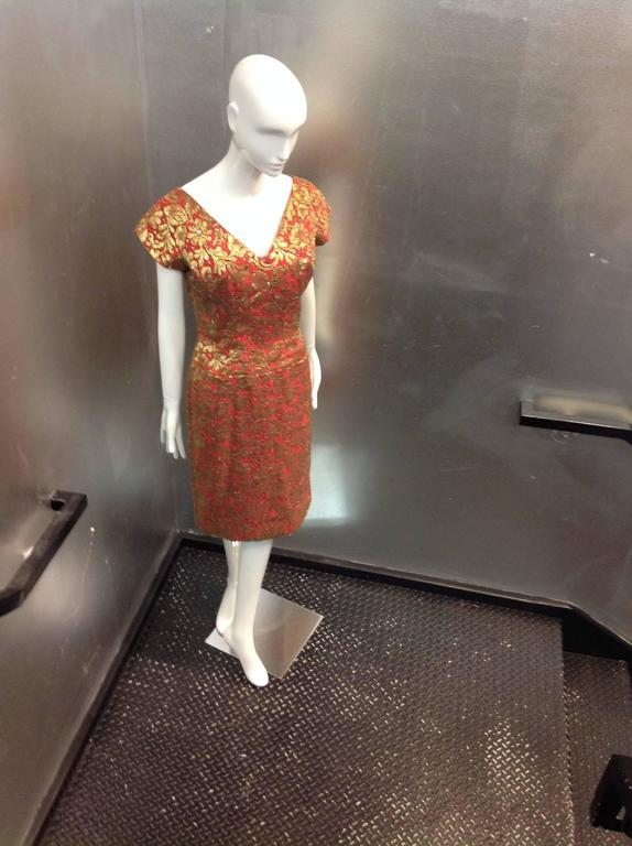 Brown 1950s Red Sheath Dress with Beautiful Gold Lame Lace Overlay and Crimson Stones For Sale