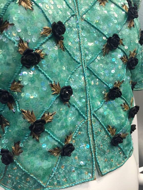 1980s Carolina Herrera Sea Foam Bead and Sequin Encrusted Bolero w/ Resin Roses For Sale 3