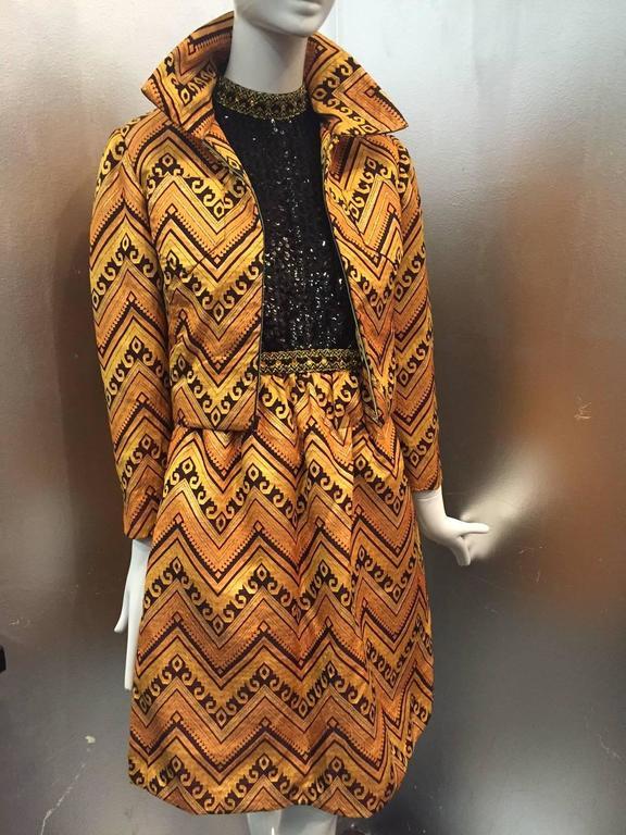 1960s Oscar de La Renta Gold & Black Brocade Cocktail Suit w/ Sequin Bodice 3