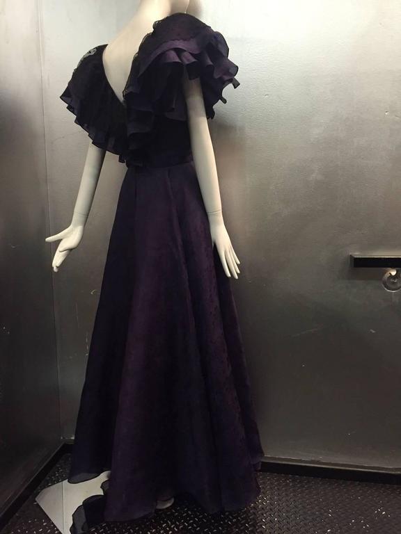 "1980s Oscar de La Renta Aubergine Jacquard ""Antebellum"" Style Ruffled Gown 2"