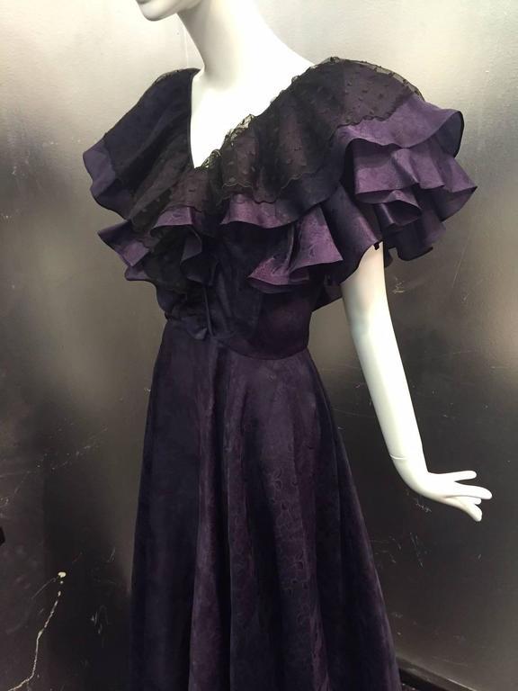 "1980s Oscar de La Renta Aubergine Jacquard ""Antebellum"" Style Ruffled Gown 3"