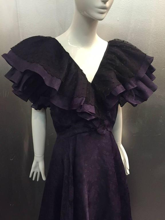 "1980s Oscar de La Renta Aubergine Jacquard ""Antebellum"" Style Ruffled Gown 5"