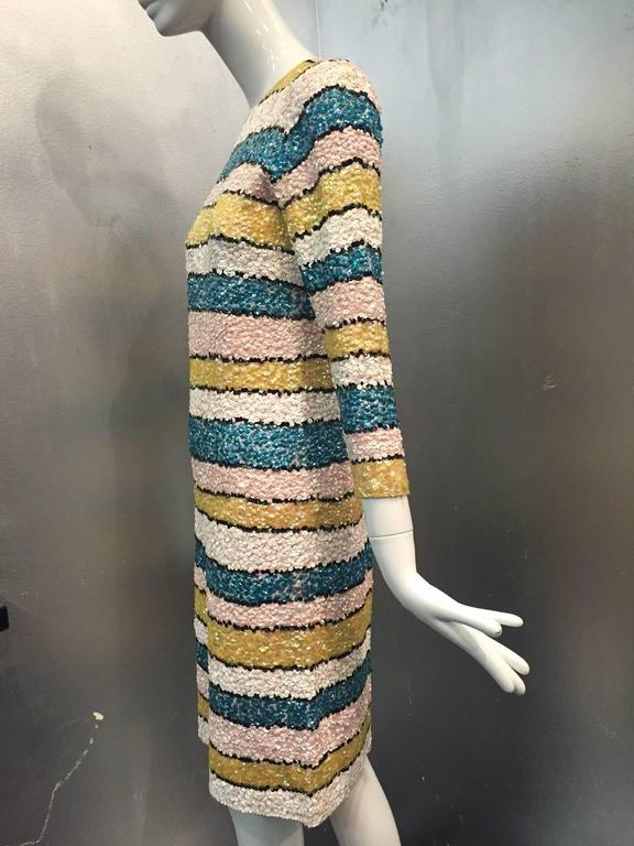 1960s Imperial Wool Knit Striped Sequin Cocktail Dress in Easter Pastels 5