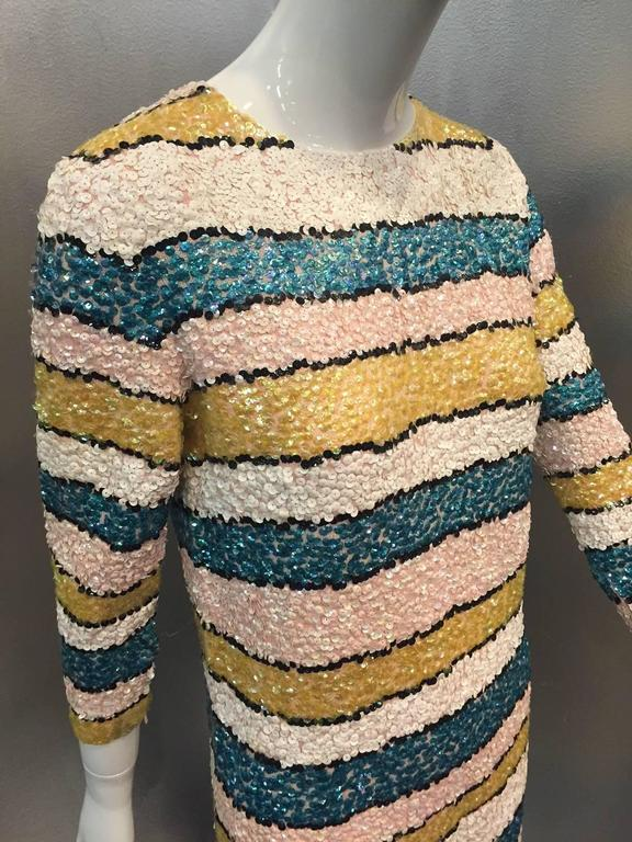 1960s Imperial Wool Knit Striped Sequin Cocktail Dress in Easter Pastels 6