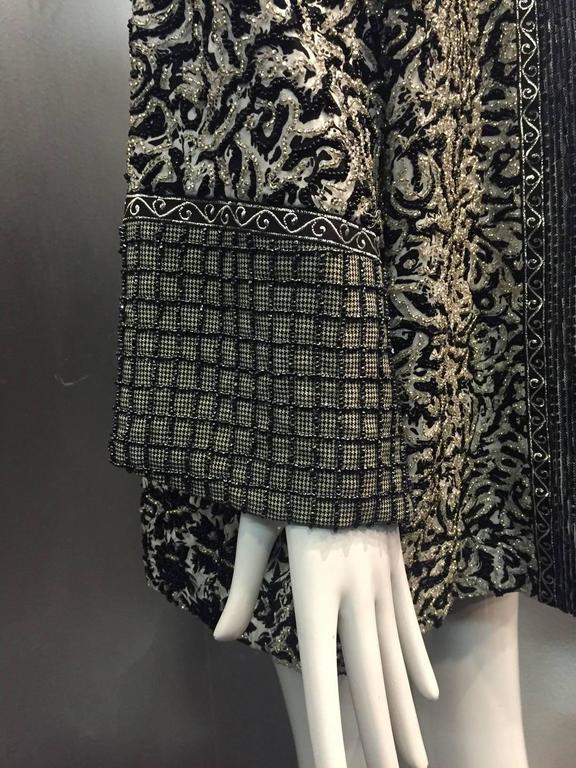 Women's or Men's 1980s Galanos Dolman Sleeved Heavily Beaded Black/White Floral Evening Jacket For Sale