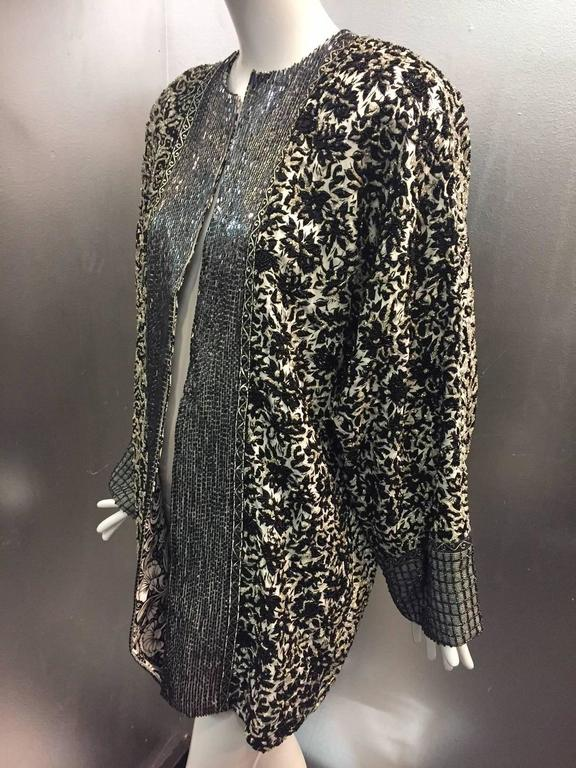1980s Galanos Dolman Sleeved Heavily Beaded Black/White Floral Evening Jacket For Sale 1