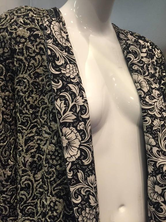 1980s Galanos Dolman Sleeved Heavily Beaded Black/White Floral Evening Jacket In New Condition For Sale In San Francisco, CA