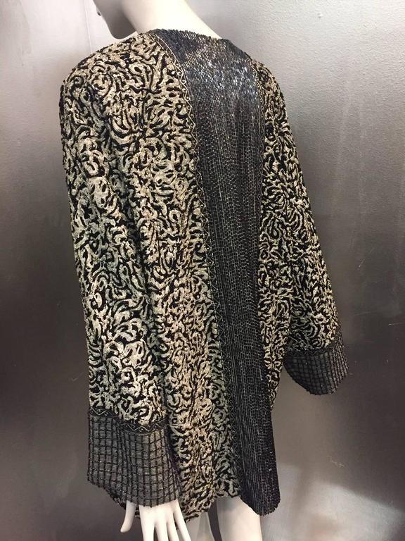 1980s Galanos Dolman Sleeved Heavily Beaded Black/White Floral Evening Jacket For Sale 2