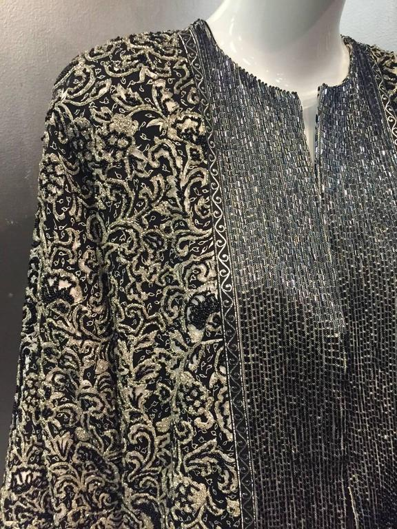 1980s Galanos Dolman Sleeved Heavily Beaded Black/White Floral Evening Jacket For Sale 4