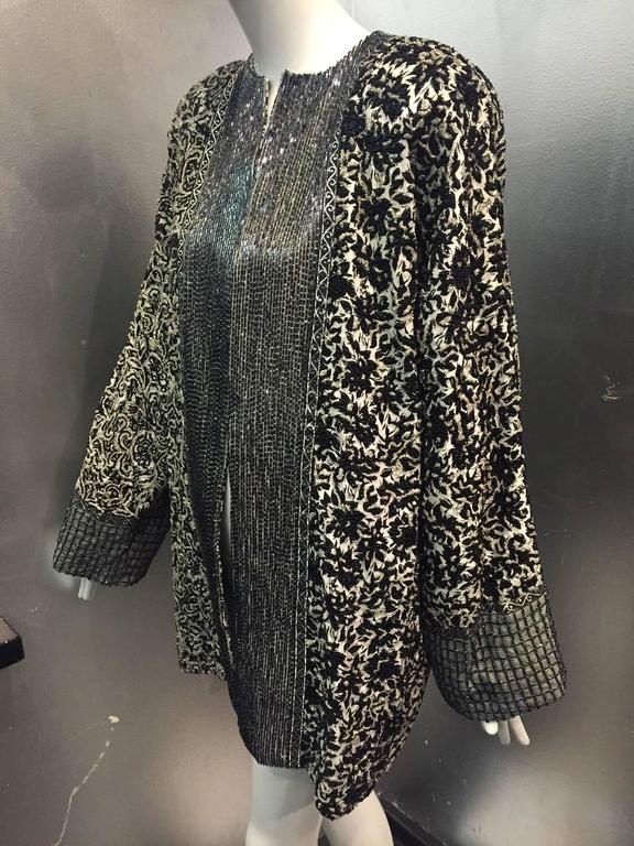 1980s Galanos Dolman Sleeved Heavily Beaded Black White