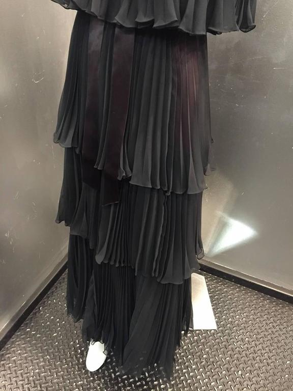 1970s Jean Varon Pleated and Tiered Crepe Chiffon Evening Gown 8