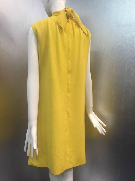 1960s Pauline Trigere Lemon Yellow Trapeze Mini w/ Poppy Appliqués 4