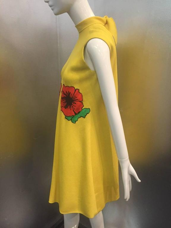 1960s Pauline Trigere Lemon Yellow Trapeze Mini w/ Poppy Appliqués 5