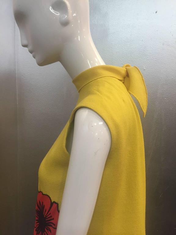 1960s Pauline Trigere Lemon Yellow Trapeze Mini w/ Poppy Appliqués 3