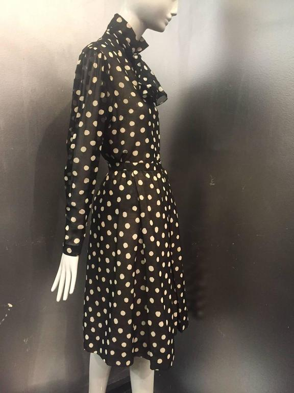 1970s Pauline Trigere Polka-Dot Cotton Voile  Blouse and Skirt Ensemble 3