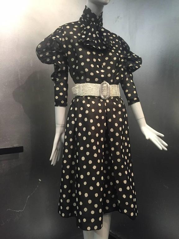 1970s Pauline Trigere Polka-Dot Cotton Voile  Blouse and Skirt Ensemble 4