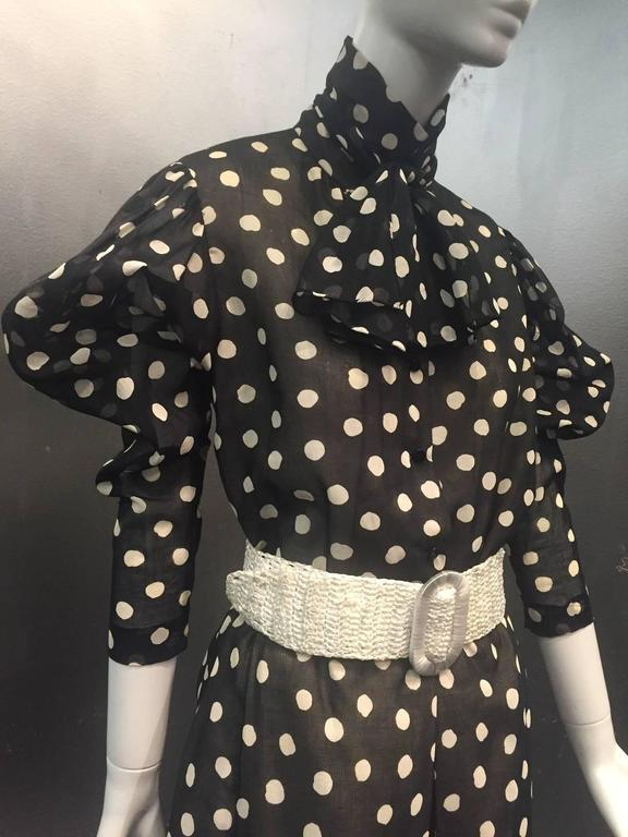 1970s Pauline Trigere Polka-Dot Cotton Voile  Blouse and Skirt Ensemble 5