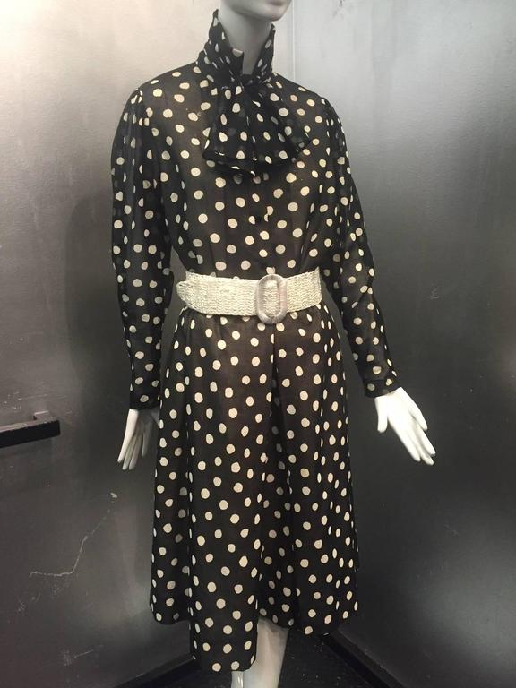 1970s Pauline Trigere Polka-Dot Cotton Voile  Blouse and Skirt Ensemble 7