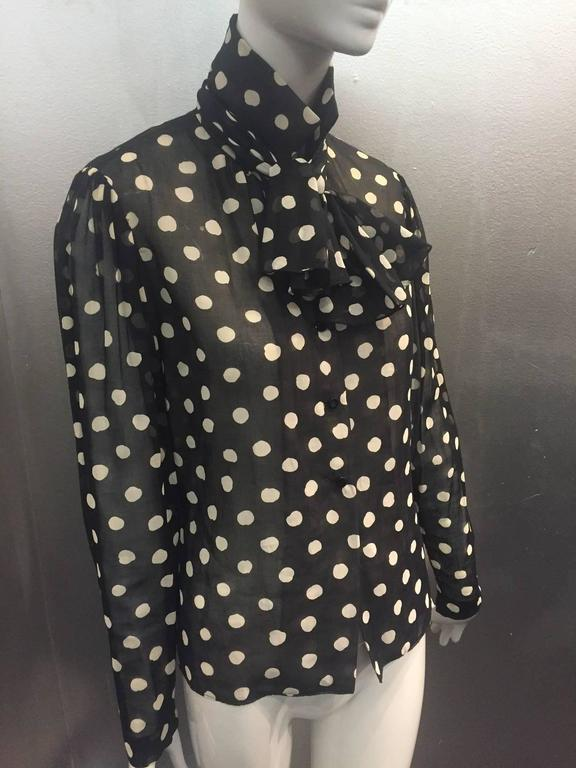 1970s Pauline Trigere Polka-Dot Cotton Voile  Blouse and Skirt Ensemble 8