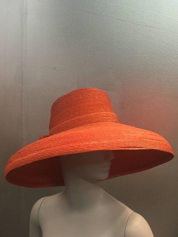 1960s Frank Olive Tangerine Straw Sun Hat w/ Bow Trim 2