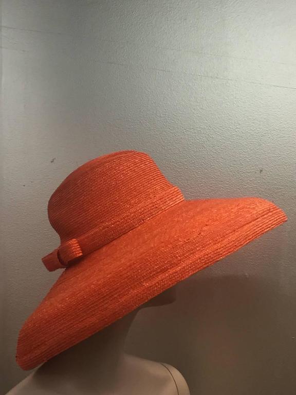 1960s Frank Olive Tangerine Straw Sun Hat w/ Bow Trim 4
