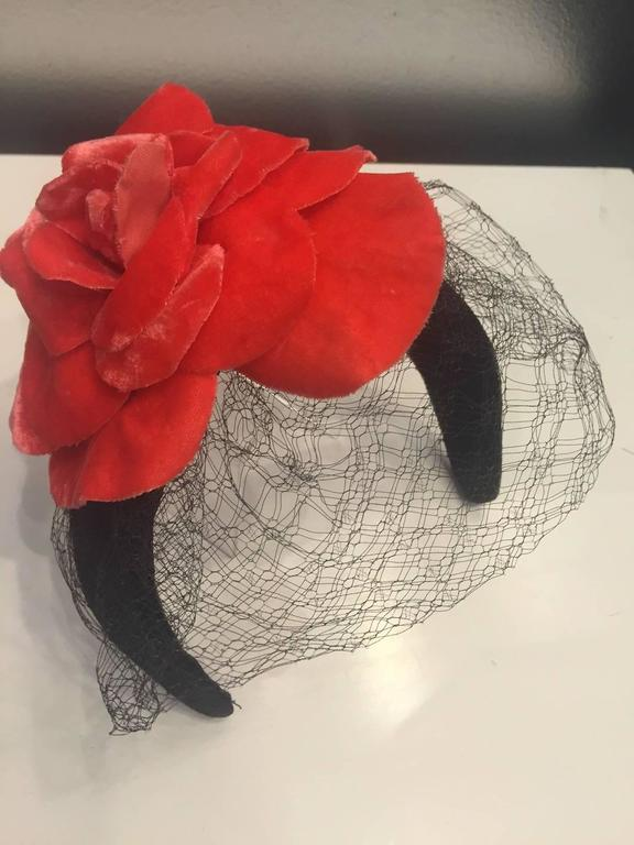 1980s Caroline Morris Velvet Headband Hat with Coral Camilla and Veil 3