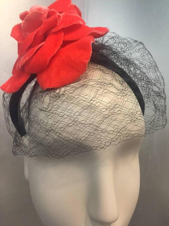 1980s Caroline Morris Velvet Headband Hat with Coral Camilla and Veil 2