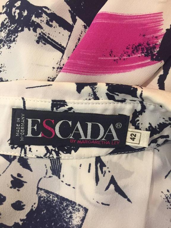 1990s Escada Iconic Movie Star Print Blouse w/ Dietrich! Garbo! Mae West!   For Sale 3