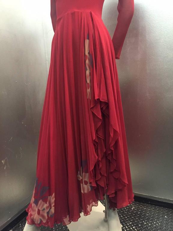 1970s Merlot Rayon Crepe Dancing Dress W High Slit Wrap