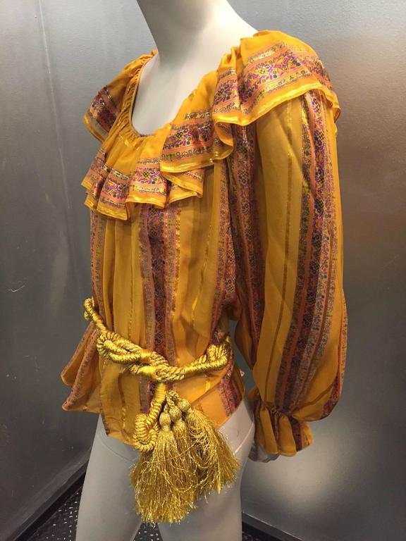 1970s Peasant Blouse in Luxurious Mustard Floral and Lamé Stripe w Belt 7