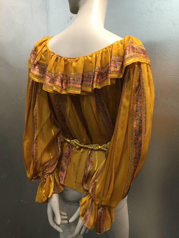 1970s Peasant Blouse in Luxurious Mustard Floral and Lamé Stripe w Belt 4