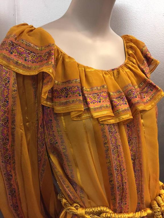 1970s Peasant Blouse in Luxurious Mustard Floral and Lamé Stripe w Belt 6