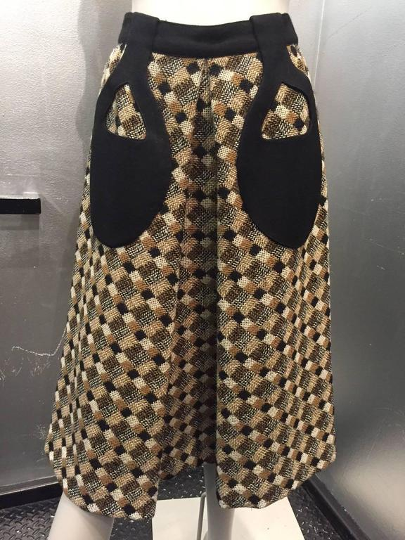 1960s Pierre Cardin Black Brown and White Tweed A-Line Skirt w Teardrop Pockets 2