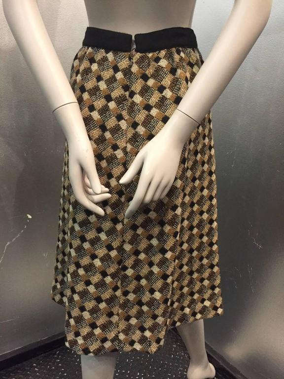 1960s Pierre Cardin Black Brown and White Tweed A-Line Skirt w Teardrop Pockets 3