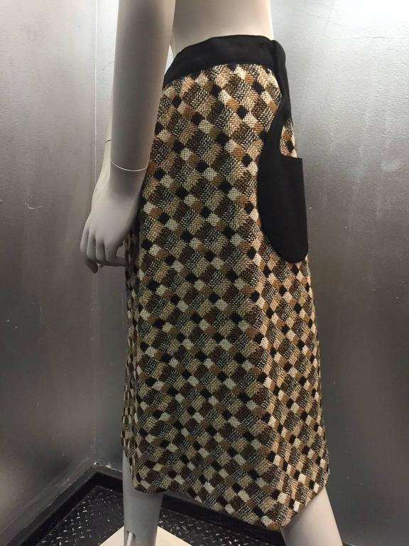 1960s Pierre Cardin Black Brown and White Tweed A-Line Skirt w Teardrop Pockets 5