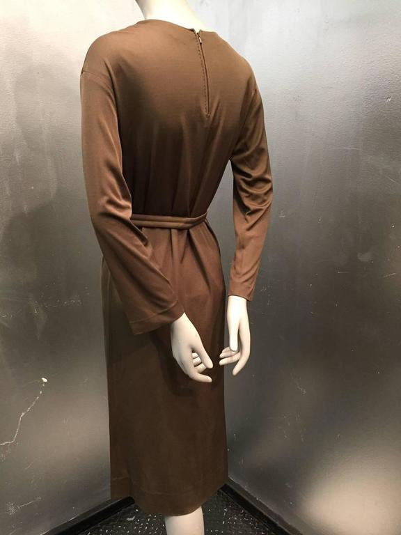 1970s Emilio Pucci Mocha Brown Silk Jersey Shift Dress with Matching Belt In Excellent Condition For Sale In San Francisco, CA