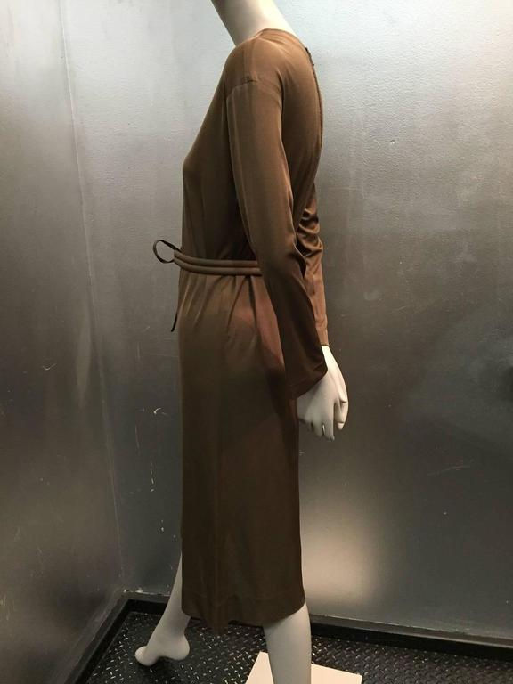 Women's 1970s Emilio Pucci Mocha Brown Silk Jersey Shift Dress with Matching Belt For Sale