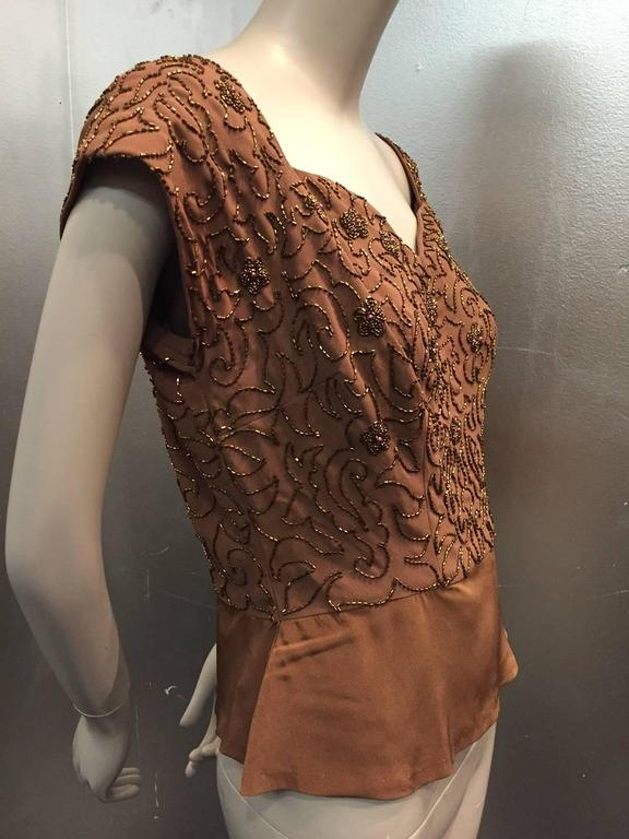 1950s Mocha Rayon Crepe Evening Top w Sweetheart Neckline and Copper Beading 2