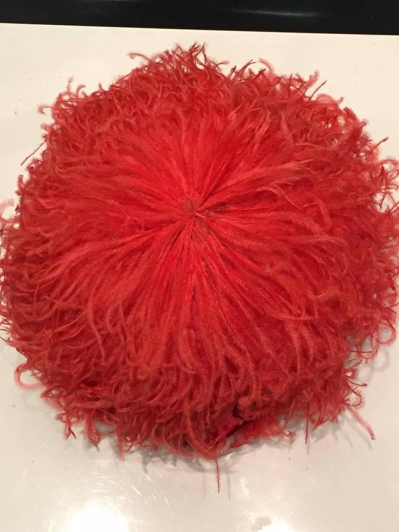1960s Trébor Coral Red Curled Ostrich Feather Cocktail Hat For Sale 1