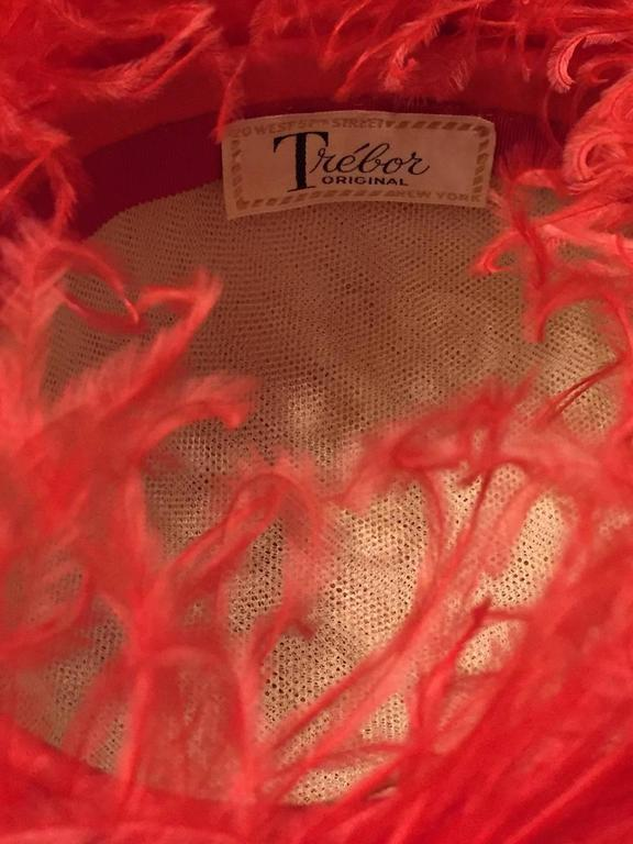 1960s Trébor Coral Red Curled Ostrich Feather Cocktail Hat For Sale 2