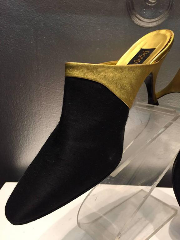 1990s Donna Karan Gilt Leather and Black Shantung Stiletto Mule  In New never worn Condition For Sale In San Francisco, CA