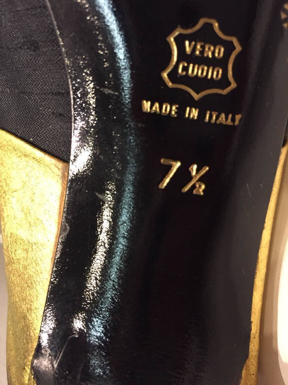 Women's 1990s Donna Karan Gilt Leather and Black Shantung Stiletto Mule  For Sale