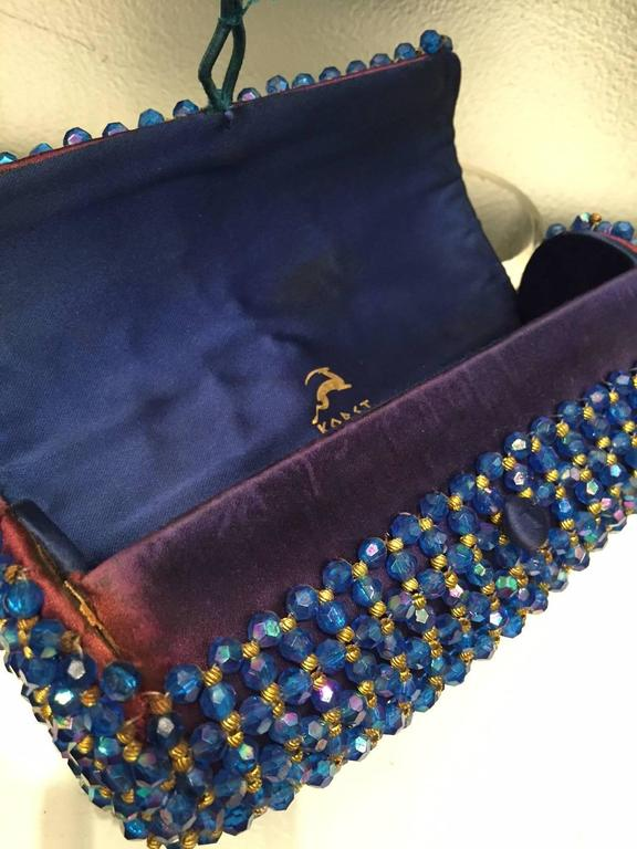 Women's 1950s Koret Sapphire Blue and Gold Beaded Barrel Clutch For Sale