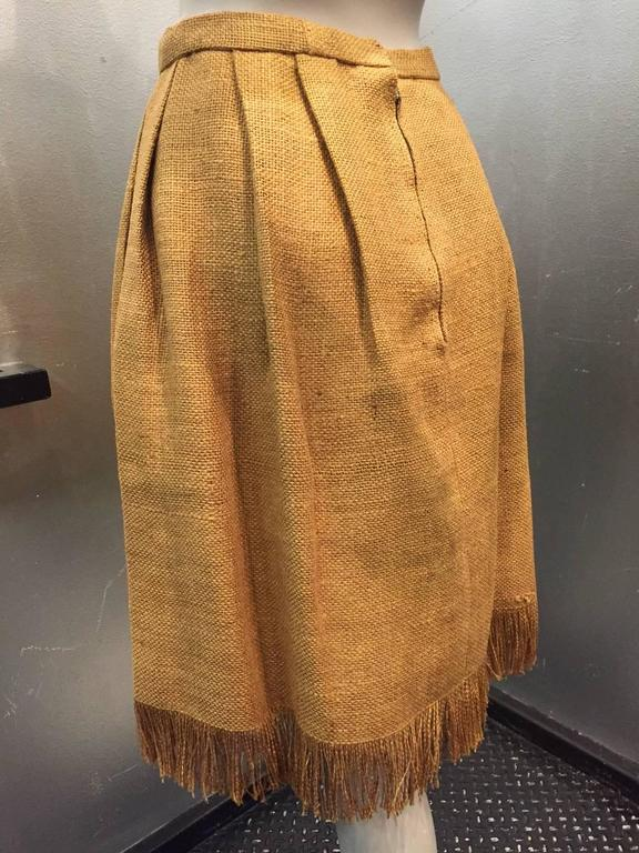 Italian Burlap Pleated Fringed Skirt with Hand Painted Mushroom Detail, 1960s   In Excellent Condition For Sale In San Francisco, CA